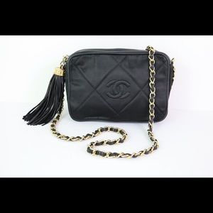 Chanel Black Satin Diamond Tassel Camera Bag